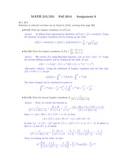 MATH 215 Fall 2014 Assignment 6 Solutions