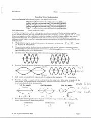 C 1 Wave Basics Name Standing Wave Mathematics Read From Lesson 4