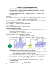 Volumes of Gases in Chemical Reactions