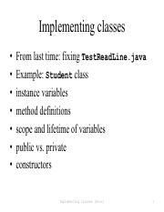 implClasses pdf - Implementing classes From last time fixing