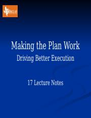 17 Making the Plan work  Lecture Notes.pptx