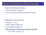Class 033 - Electric Potential Energy and Potential