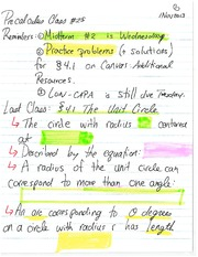MATH 105 Fall 2013 Unit Circle Lecture Notes