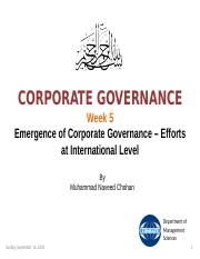 Week 5 - Emergence of Corporate Governance - International Efforts.ppt