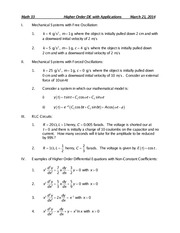 Math 33Higher Order DE with Applications