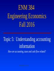 Notes 5.  Understanding accounting information  ENM Fall 2016