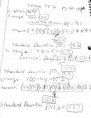 Notes for standard deviation and factoring