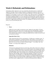 Week 6 Rebuttals and Refutations 4.0.docx