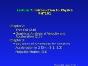 PHY 101 Lecture 7