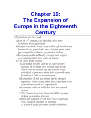 Chapter 19- The Expansion of Europe in the Eighteenth Century