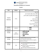 Timetable and Syllabus for Assessment Grade 9.pdf