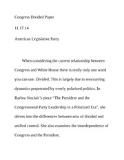 Congress Divided Paper
