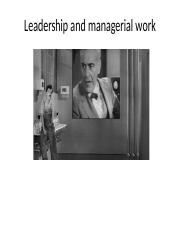 Leadership and Managerial Practice