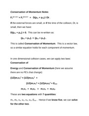 Conservation of Momentum Notes