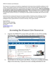 SPCH 275 Accessing iConnect Live for Students and Professors
