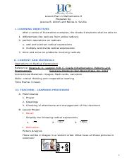 Math 10 - Equation of A Circle Lesson Plan docx - Lesson Plan in