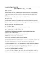 Critical Thinking Transcripts