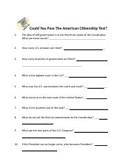 Could You Pass The American Citizenship Test.docx