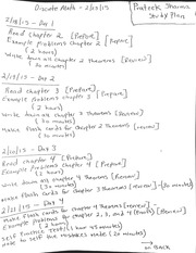 Study plan for Exam
