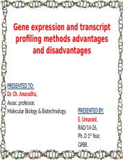 geneexpression and transcript profiling-umarani