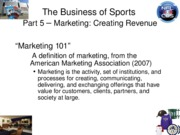 Section 5 - Marketing and Revenues