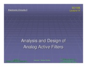 ee100b Lecture 14 - Analysis and Design of Analog Active Filters (Slides)
