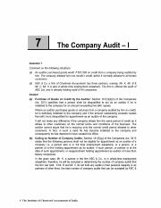 Chapter 7 The Company Audit - I