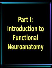 Learning Module I Functional Neuroanatomy