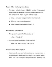 Future Value of a Lump Sum Notes