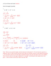 4.12 Law of Sines and Cosines Solutions