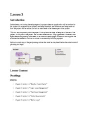 Project Management Lesson 3