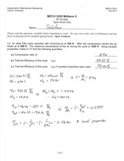 MECH 3020 Fall 2013 Midterm II Solution