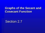 2.7 Graphs of the Secant and Cosecant Function