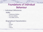 Foundations of Individual Behaviour (Presentation)
