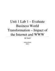 Unit 1 Lab 1 - Evaluate Business World Transformation - Impact of the Internet and WWW