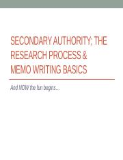 LECTURE 3 - Secondary Authority. Legal Research. Memo Writing (1)