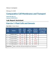 Data Tables for Comparative Cell Membranes and Transport.docx
