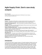 by using quick response zara aims to reduce both excess stock  11 pages agile supply chain zara case study