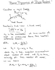Lecture Notes on Planar Dynamics of Rigid Bodies