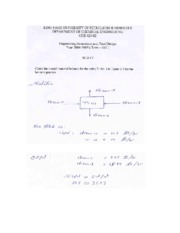 KING FAHD UNIVERSITY CHEMICAL ENGINEERING COURSE NOTES (Engineering Economics and Design Principle