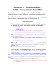 Afro 005 Fall 2014 Final Exam Review Sheet