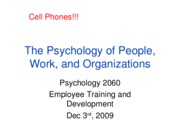 Lecture 12, Employee Training and Development, Full Slides, Dec. 3rd, 2009