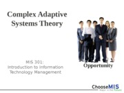 Class 6 - Complex Adaptive Systems