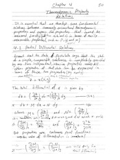 Class Notes for Thermodynamic Property Relations