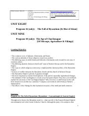 Unit 8 Prog 16, Unit 9 Prog 18 Outlines for Western Trad, Weber, 4 wk version