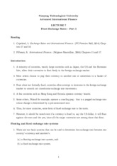 Lecture 7 - Fixed Exchange Rates - Part I