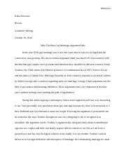 Rhetorical Analysis- Gay marriage