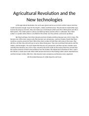 Agricultural Revolution and the New technologies.docx