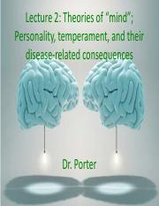 Lecture 2 Personality and disease, theories of mind draft TO POST
