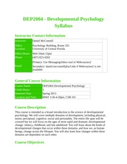 DEP 2004C - Developmental Psychology (Spring 2013) Syllabus